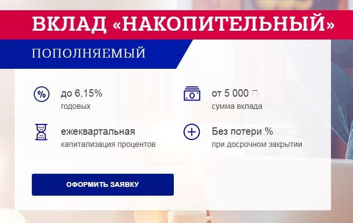 вклад накопительный почта банк условия