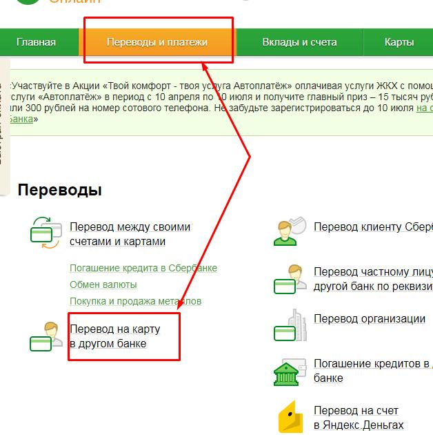 пополнить карту почта банка через сбербанк